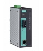 Медиаконвертер Ethernet 10/100BaseTX в 100BaseFX (одномодовое оптоволокно) в металлическом корпусе с расширенным диапазоном температур MOXA